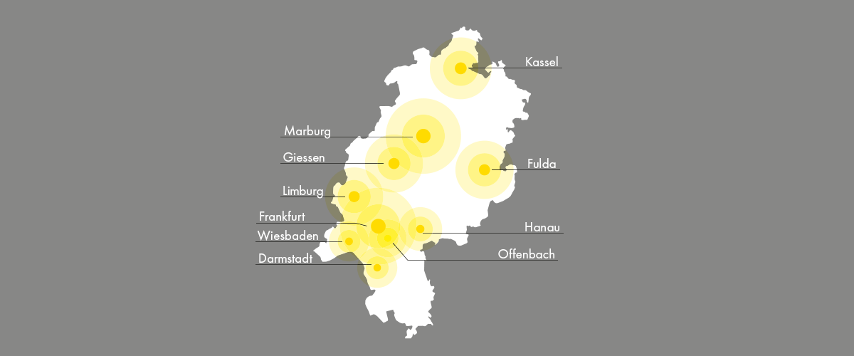 Karte unserer Beratungsstellen in Hessen